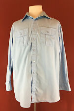 HPI Signature Collection Mens Blue Button Up L/S Work Shirt 16.5-32/33 made USA