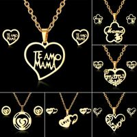 New Stainless Steel MOM Heart Flower Chain Necklace Earrings Jewelry Set Gifs
