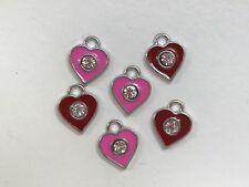 Enamel heart charms - set of 6