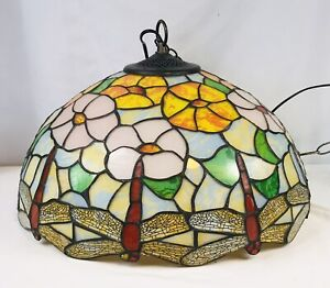 """Dragonfly Hanging Ceiling Pendant Light Lamp Tiffany Style Stained Glass 16"""""""