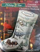 "18"" Christmas Stocking Winter Scence BUCILLA Cross Stitch KIT 84525 Village Kids"