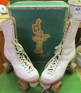 Old Betty Lytle Styled By Hyde White Leather Tall Roller Skates w/ Box