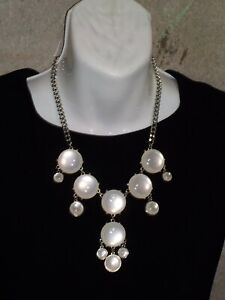 Susan Graver White Pearly Cabochon Necklace