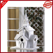 Whitewashed Country Little White Chapel Birdhouse New