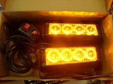 High Power Amber Yellow Flashing Strobe Grille Beacons Warning LED Lights - 12V