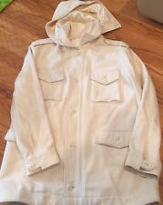 Sean John New York Men's Ivory Wool Hooded Jacket Coat Size L