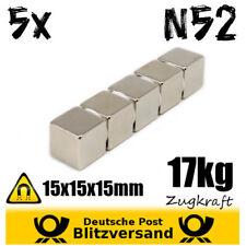 5x Neodym Magnet Würfel 15x15x15mm 17kg Zugkraft N52 - starke Magnete Werkstatt