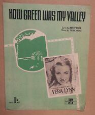 Foglio CANZONE come era verde la mia Valle vera Lynn 1941