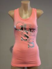 GUESS Womens NEW Neon Pink Stacked Logo Glitter & Studded Racerback Tank Top XS