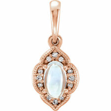 Genuine Rainbow Moonstone 5 x 3 mm Gem & .03 cttw Diamonds Pendant 14K Rose Gold