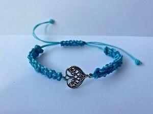 Handmade Bracelet Adjustable Blue Heart Love Charm Friend Girl Gift Present