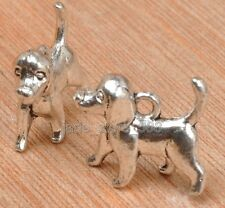 15Pcs tibetan silver tone cute 3D dog design charms pendant E3323