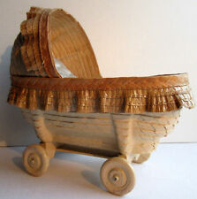 French cradle for doll, straw and lacquered raffia, painted wood, Art Nouveau