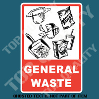 GENERAL WASTE DECAL STICKER GARBAGE BIN OH&S COMMERCIAL SAFETY DECALS STICKERS