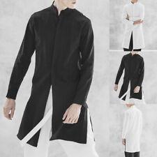 Mens Shirt Kurta Collarless Cotton Button Long Sleeve Casual Party Kaftan Tops