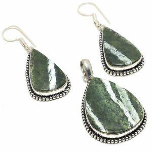 Banded Green Opal Gemstone Handmade  925 Silver Set