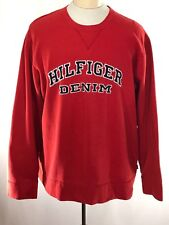 Vintage TOMMY HILFIGER DENIM Crew Neck Pullover Sweater Spellout XXL 2XL Jumper