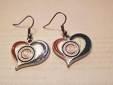 Chicago Cubs Swirl Heart Enamel Charm Earrings Womens Fashion Jewelry