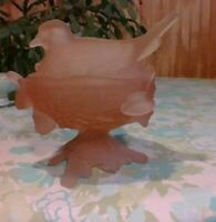 Vintage Westmoreland pink Satin Glass Covered Bird on Nest Candy Dish