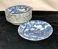 "8 Staffordshire Myott ROYAL MAIL *BLUE* 5 1/4"" DESSERT BOWLS*"
