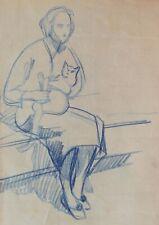 Attribué Théophile Alexandre STEINLEN dessin femme chat crayon bleu tableau art
