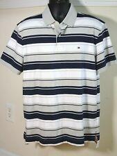 Men's Tommy Hilfiger Polo Shirt XL Blue White Grey Horizontal Stripes