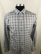 Banana Republic Dress Shirt M Medium Brown, Blue, White Check Long Sleeve