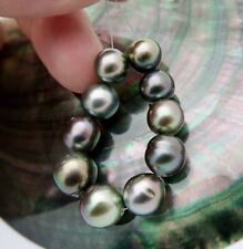 OUTRAGEOUSLY GORGEOUS AA+ TAHITIAN BLACK PEACOCK CULTURED 9.2-10.8mm PEARL SET