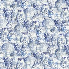 Peacock Arbor Ginger Jar China Vase David Textile 100% Cotton Fabric by the Yard