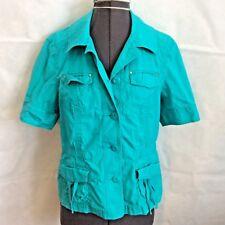Chicos Short Sleeved Jacket Sz 0 = Womens 4 Turquoise Blue Ripstop Utility Cargo