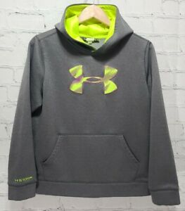Under Armour Storm Hoodie Gray Green Youth XL Sweatshirt Kid's Loose         A79