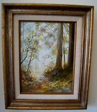FAUCHER Signed TREES in Spring Forest In Wood Frame Matted SZ 16 x 14