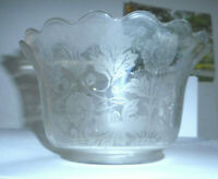 "Vintage etched glass shade floral pattern  4"" fitter  (W3)"