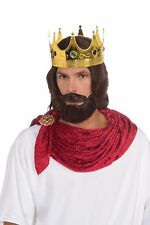 Royal King Wig Beard Moustache Brown Biblical Adult Men Prince Costume Accessory
