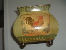"Vintage Metal Flower Pot Planter Chicken Rooster 6"" Tall Multi-Color"