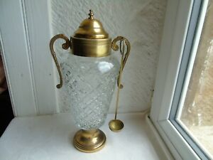 French absinthe liquor cocktail  glass metal brass with lid and brass spoon