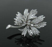 Vintage 4.50CT Round Cut Diamond 14K White Gold Finish Trembling Flower Brooch