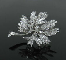 White Gold Finish Trembling Flower Brooch Vintage 4.50Ct Round Cut Diamond 14K