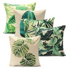 Tropical Green Plant Leaves Cotton Linen Cushion Cover Pillow Case Sofa Decor