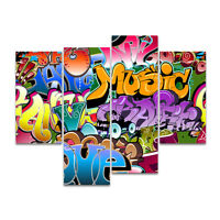 4 Panel Abstract Canvas Oil Painting CP Print Art Set Home Decor Graffiti Wall