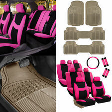 3 Row 8 Seater Pink Seat Covers for SUV Van Accesory Combo w/ Beige Floor Mats