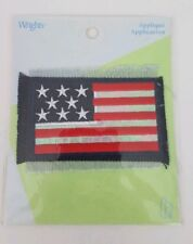 """NEW Wrights Iron On American Flag Fringe Patch 3.5"""" X 2.5"""""""