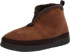 Dearfoams Men's Microsuede Boot with Mudguard Slipper Brown Ankle Large 11-12 L