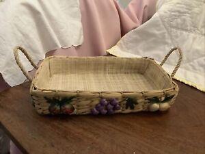 Vintage Woven Rattan Fruit / Bread Basket Cottagecore Coloured Embroidery Fruits