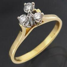Retro 60's Solid 18k GOLD 3 DIAMOND HIGH TRILOGY ASYMETRIC CLUSTER RING Sz L1/2