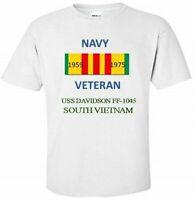 USS DAVIDSON  FF-1045 * SOUTH VIETNAM*VIETNAM VETERAN RIBBON 1959-1975 SHIRT