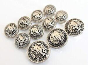 11 Pieces Antiqued Silver Lion Head Metal Blazer Button Set Suits Coat Jacket