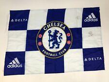 "CHELSEA FC Blue White CHECKERED Soccer FLAG 24x35"" Futbol Adidas Delta SIGNED"