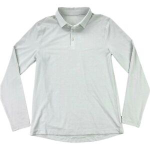 Lululemon Men's Performance Tech L/S Polo Shirt White/Gray • SMALL