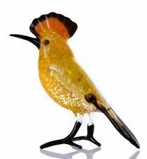 Hoopoe Glass Figurine, Blown Glass Art, Brown and Yellow Bird Miniature